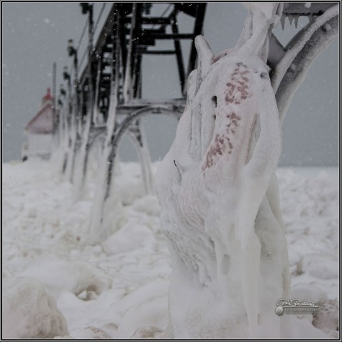 Grand Haven Lighthouse in Ice