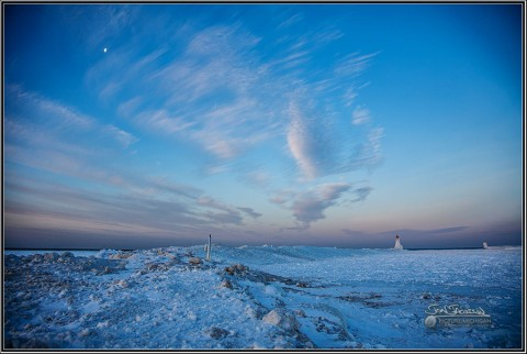 Muskegon Lighthouse Under Ice