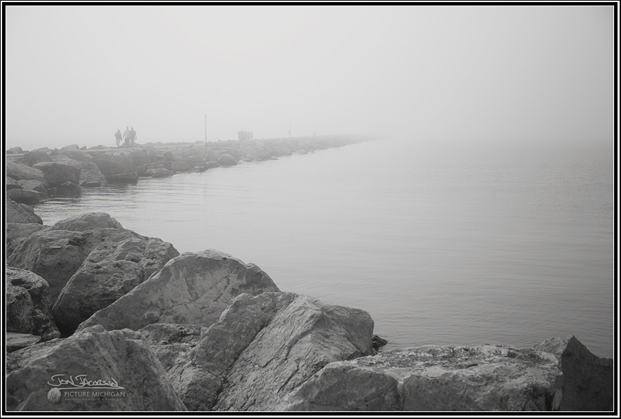 Lake Michigan fog in Muskegon