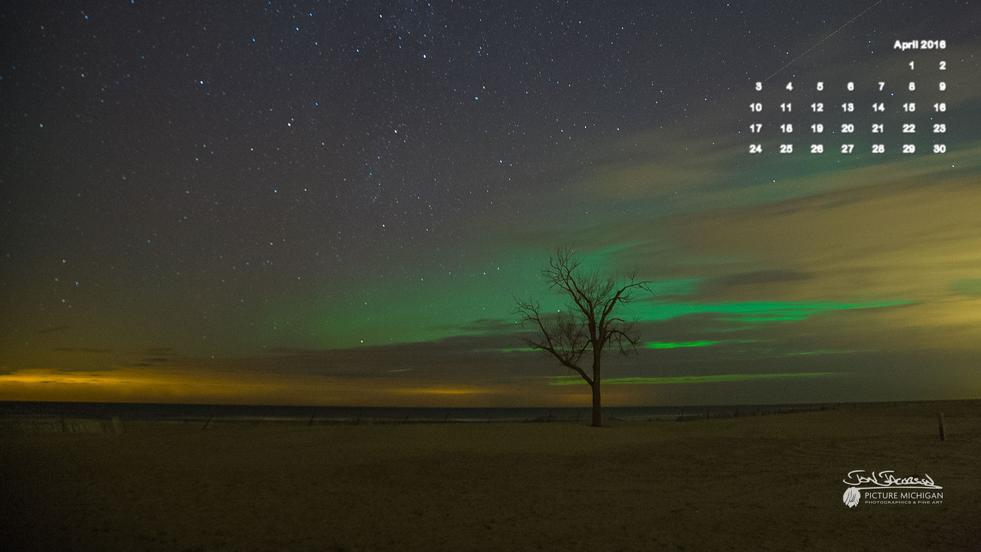 Calendar Background 2016 : April calendar desktop wallpaper northern lights