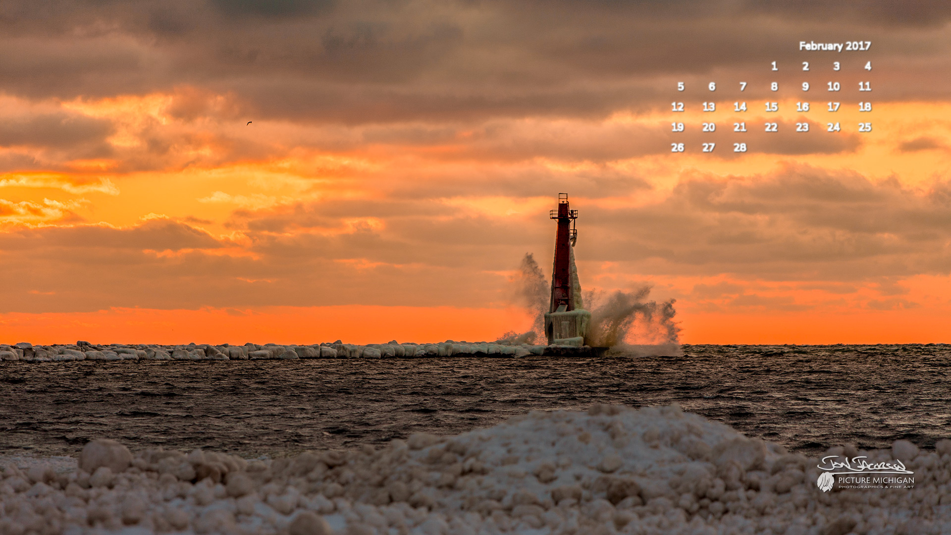 February 2017 Calendar Desktop Wallpaper Windy Sunset At Muskegon