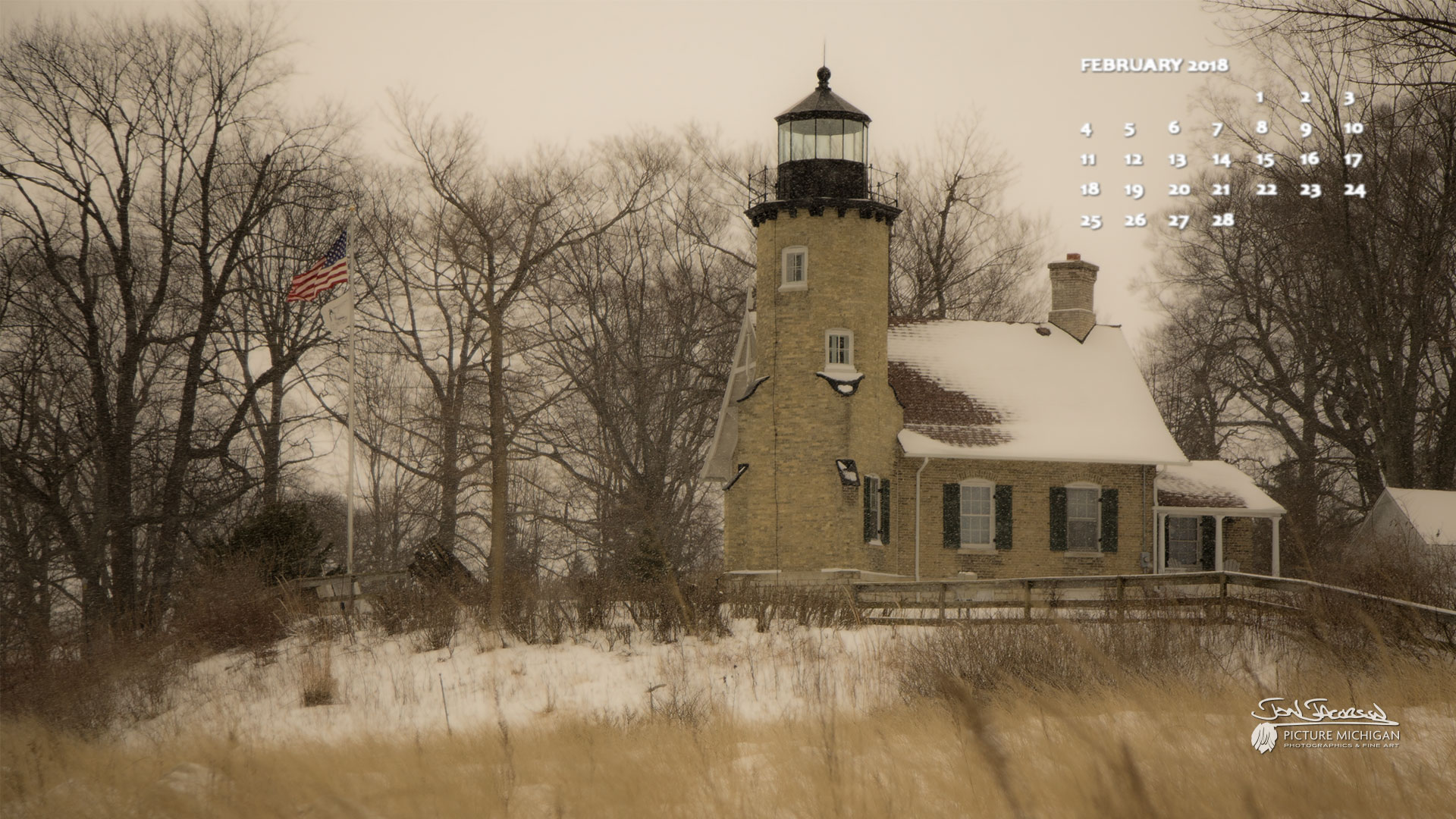 February 2018 Desktop Wallpaper Calendar -- White River Light Station