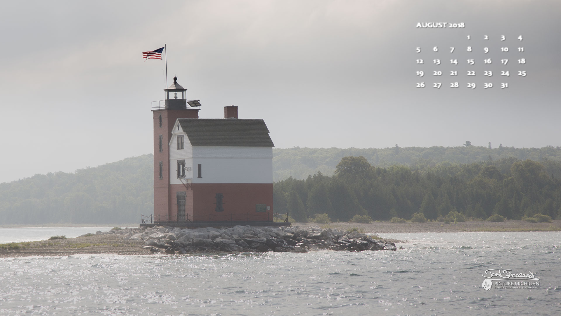 Round Island Light near Mackinac Island - August 2018 Picture Michigan Calendar Desktop Wallpaper