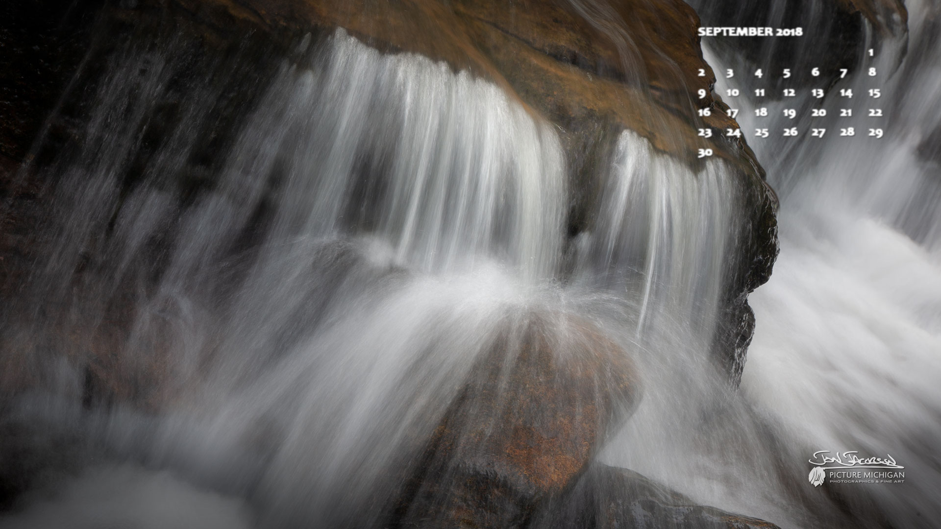 Au Sable Falls Calendar Desktop Wallpaper