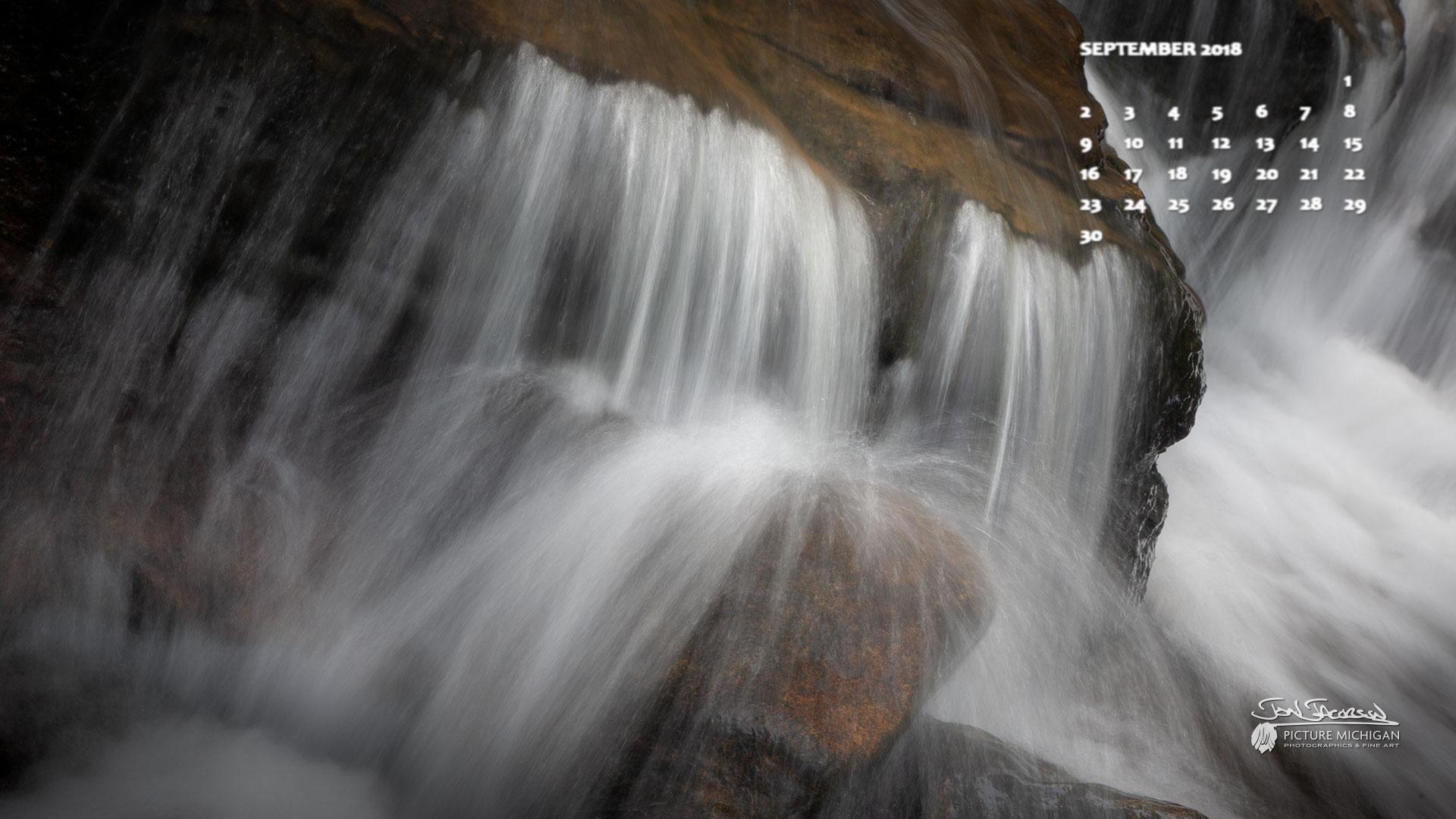 Au Sable Falls Calendar Desktop Wallpaper